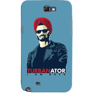 Oyehoye TURBANator Quirky Printed Designer Back Cover For Samsung Galaxy Note 2 Mobile Phone - Matte Finish Hard Plastic Slim Case