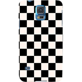 Oyehoye Black and White Checks Pattern Style Printed Designer Back Cover For Samsung Galaxy S5 Mobile Phone - Matte Finish Hard Plastic Slim Case