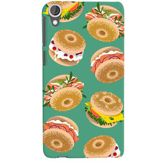 Oyehoye Burger For Foodies Pattern Style Printed Designer Back Cover For HTC Desire 820 Dual Sim Mobile Phone - Matte Finish Hard Plastic Slim Case