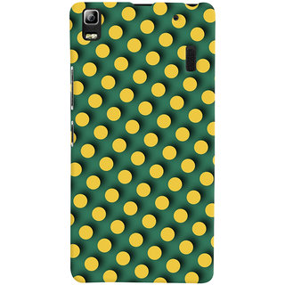 Oyehoye Green and Yellow Polks Dots Pattern Style Printed Designer Back Cover For Lenovo A7000 Mobile Phone - Matte Finish Hard Plastic Slim Case