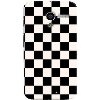 Oyehoye Black and White Checks Pattern Style Printed Designer Back Cover For Motorola Moto X Mobile Phone - Matte Finish Hard Plastic Slim Case