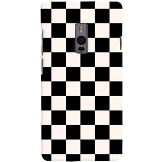 Oyehoye Black and White Checks Pattern Style Printed Designer Back Cover For OnePlus 2 Mobile Phone - Matte Finish Hard Plastic Slim Case