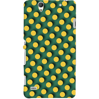 Oyehoye Green and Yellow Polks Dots Pattern Style Printed Designer Back Cover For Sony Xperia C4 / Dual Sim Mobile Phone - Matte Finish Hard Plastic Slim Case