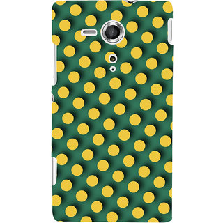 Oyehoye Green and Yellow Polks Dots Pattern Style Printed Designer Back Cover For Sony Xperia SP Mobile Phone - Matte Finish Hard Plastic Slim Case