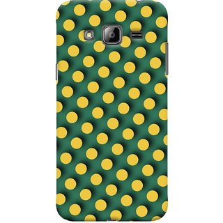 Oyehoye Green and Yellow Polks Dots Pattern Style Printed Designer Back Cover For Samsung Galaxy J3 Mobile Phone - Matte Finish Hard Plastic Slim Case