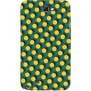 Oyehoye Green and Yellow Polks Dots Pattern Style Printed Designer Back Cover For Samsung Galaxy Note 2 Mobile Phone - Matte Finish Hard Plastic Slim Case