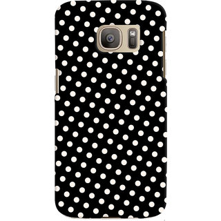 Oyehoye Black and White Polka Dots Pattern Style Printed Designer Back Cover For Samsung Galaxy S7 Mobile Phone - Matte Finish Hard Plastic Slim Case