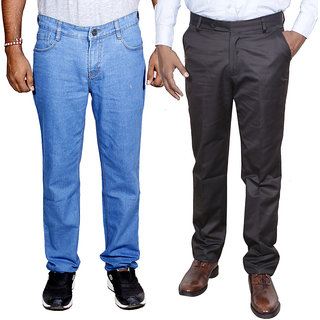 IndiWeavesMen's Regular Fit Denim Jeans with Rayon Formal Trouser Combo Pack Of -2