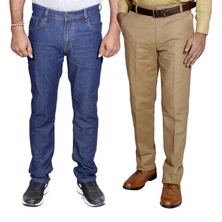 IndiWeavesMen's Regular Fit Denim Jeans with Linen Formal Trouser Combo Pack Of -2