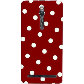 Oyehoye Red And White Polka Dots Pattern Style Printed Designer Back Cover For Asus Zenfone 2 ZE551ML Mobile Phone - Matte Finish Hard Plastic Slim Case