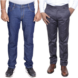 IndistarMen's Regular Fit Denim Jeans with Rayon Formal Trouser Combo Pack Of -2