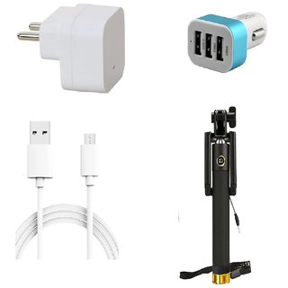 Premium Quality + Proper 1.5 Amp USB Charger + 3 meter Copper Embedded USB Cable (Data Transfer + Charging) + 3 Jack USB Car Charger + Aux Enabeled Selfie (Monopod) Compatible With Intex Ace