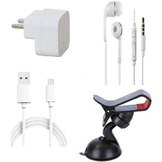 Premium Quality + Proper 1.5 Amp USB Charger + 3 meter Copper Embedded USB Cable (Data Transfer + Charging) + Universal Handsfree 3.5 mm Jack  Headphones + Mobile Car Holder Compatible With Karbonn Machone Titanium S310