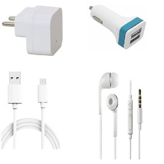 Premium Quality + Proper 1.5 Amp USB Charger + 3 meter Copper Embedded USB Cable (Data Transfer + Charging) + Universal Handsfree 3.5 mm Jack  Headphones + 2 Jack USB Car Charger Compatible With Lava A71