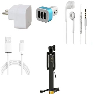 Premium Quality + Proper 1.5 Amp USB Charger + 3 meter Copper Embedded USB Cable (Data Transfer + Charging) + Universal Handsfree 3.5 mm Jack  Headphones + 3 Jack USB Car Charger + Aux Enabeled Selfie (Monopod) Compatible With Lava Iris X1 Atom