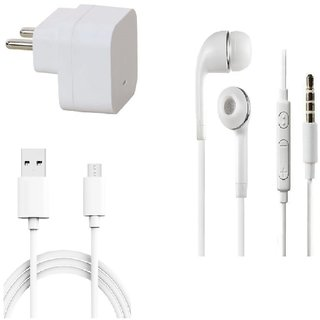 Premium Quality + Proper 1.5 Amp USB Charger + 3 meter Copper Embedded USB Cable (Data Transfer + Charging) + Universal Handsfree 3.5 mm Jack  Headphones Compatible With iBall Andi Andi 4L Pulse