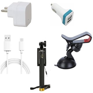 Premium Quality + Proper 1.5 Amp USB Charger + 1.5 meter Copper Embedded USB Cable (Data Transfer + Charging) + 2 Jack USB Car Charger + Aux Enabeled Selfie (Monopod) + Mobile Car Holder Compatible With Micromax Canvas Amaze