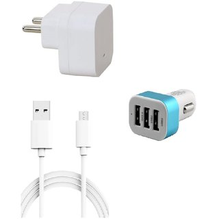 Premium Quality + Proper 1.5 Amp USB Charger + 1.5 meter Copper Embedded USB Cable (Data Transfer + Charging) + 3 Jack USB Car Charger + Aux Enabeled Selfie (Monopod) Compatible With Lava Iris X9