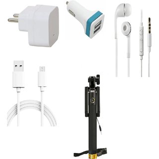 Premium Quality + Proper 1.5 Amp USB Charger + 1.5 meter Copper Embedded USB Cable (Data Transfer + Charging) + Universal Handsfree 3.5 mm Jack  Headphones + 2 Jack USB Car Charger + Aux Enabeled Selfie (Monopod) Compatible With Spice Flo M6125