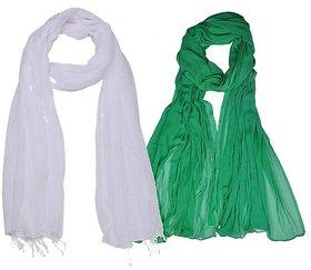 Soneya White  Green Cotton Dupatta Pack Of - 2