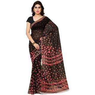 Fabdeal Daily Wear Black Colored Printed Georgette Saree/Sari