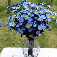 Imported 1 Bunch Artificial Flowers Plants Daisy Bush Bouquet Home Party Decor Blue