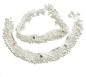 Crystal Studded Alloy Silver Plated Anklet for Women/Girls