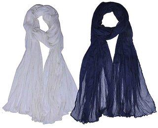 Soneya Grey  Navy Blue Cotton Dupatta Pack Of - 2