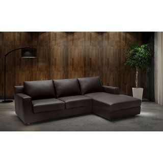 FabHomeDecor - Astoria L shape sofa right side in black leatherette