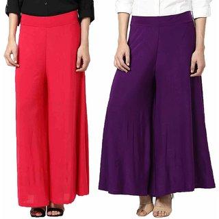 Guru Ji Creations Women's Regular Fit Pink  Purple Trouser's