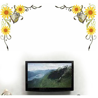 Wall Dreams Yellow Sunflower/Gerbera Flower Vines With Butterfly In Yellow Vector Art Wall Stickers
