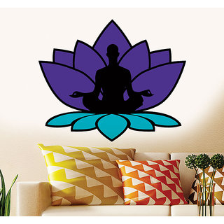Wall Dreams Meditation In A Lotus In A Lotus Sitting Position Spritual In Purple  Blue Wall Sticker/Decals (57136)