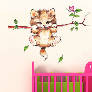 Wall Dreams Cute Kitty Cat Clinging On A Branch With Pink Butterfly  Falling Leaves Abstract Cartoon Animation Art Wall Sticker/Decals (6410)