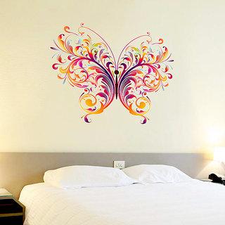 Wall Dreams Butterfly Vector/Abstract Art For Fridge, Glass Door, Wardrobe  Room, Wood Doors, Temple, Pooja Room Wall Sticker (60cmX60cm)