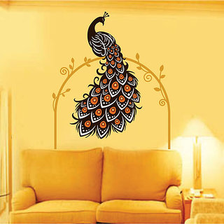 Wall Dreams Peacock Sitting Majestically With Beautiful Tail In Stylish Display On A Floral Arch Wall Stickers (60cmX90cm)