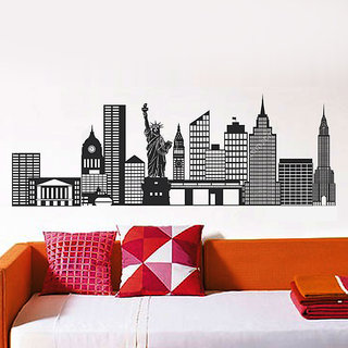 Wall Dreams New York City Tourist Attraction With Statue of Liberty, Empire State Building, Times Square, Chrysler Building Wall Sticker/Decals (6927)
