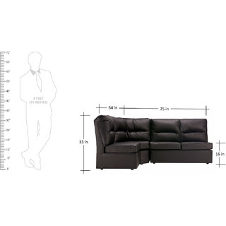 FabHomeDecor - Elzada Comfy Modular L Shape Sofa in Black Colour -Black