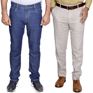 IndiWeavesMen's Regular Fit Denim Jeans with Linen Formal Trouser Combo Pack Of -2