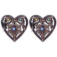 Onlineshoppee Wooden Key Holder In Heart Shape With Handicraft Design,Pack Of 2