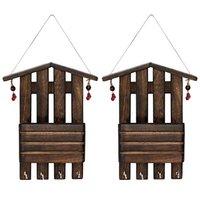 Onlineshoppee Wooden Antique Wall Decor Letter  Key Holder,Pack Of 2