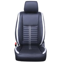 Hi Art Leatherette Black/Silver Seat Covers for Honda iDtec - Complete set(front seat covers + rear seat covers)