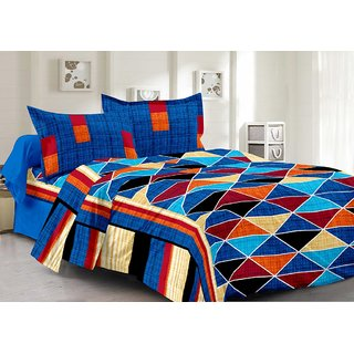 Welhouse Cotton Traditional Multi Double Bedsheet with 2 Contrast Pillow Covers(TC-129)