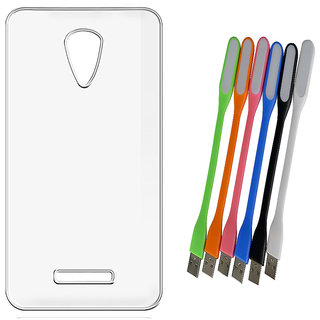 Soft Transparent Back Cover for Micromax Canvas Fire 4 A107 with Flexible USB LED Lamp