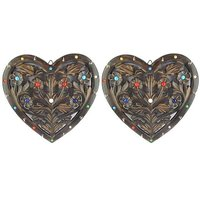 Onlineshoppee Wooden Key Holder In Heart Shape With Handicraft Design Size-lxbxh-11.5x1x11.5 Inch,Pack Of 2