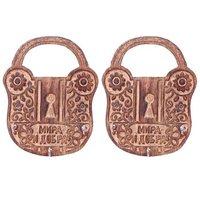 Onlineshoppee Wooden Antique Lock Shape Key Holder Size (LxBxH-13x2x17) Cm,Pack Of 2