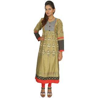 Keemaya Chanderi  Party Wear Mehendi Women's Kurti