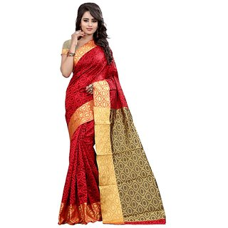 Roop Mantra Red Cotton Silk Saree With Blouse Piece