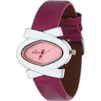 Xemex Pink Dial Analog Synthetic Leather Watch For Women'S