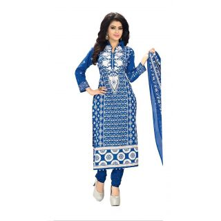 Nazaquat Blue Printed Crepe Unstitched Dress Material