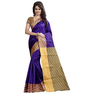 Roop Mantra Purple Cotton Silk Saree With Blouse Piece